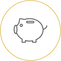 Piggy bank icon linking to Dollar Dog page - Dollar Dog Kids Club