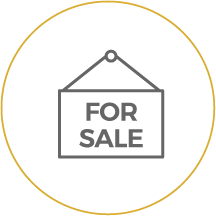 For sale sign icon linking to CU Owned Properties - Repos and Foreclosures